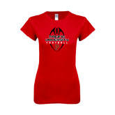 Next Level Ladies SoftStyle Junior Fitted Red Tee-Tall Football Design