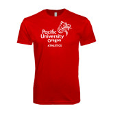 Next Level SoftStyle Red T Shirt-Pacific University Oregon w/Boxer