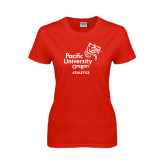 Ladies Red T Shirt-Pacific University Oregon w/Boxer