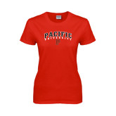 Ladies Red T Shirt-Arched Pacific University w/P