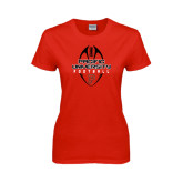 Ladies Red T Shirt-Tall Football Design