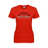 Ladies Red T Shirt-Flat Football Design