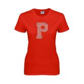 Ladies Red T Shirt-P Rhinestones, Crystal Rhinestones