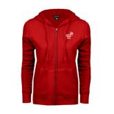 ENZA Ladies Red Fleece Full Zip Hoodie-Pacific University Oregon w/Boxer