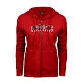 ENZA Ladies Red Fleece Full Zip Hoodie-Arched Pacific University w/P