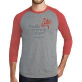 Grey/Red Heather Tri Blend Baseball Raglan-Pacific University Oregon w/Boxer