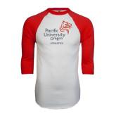 White/Red Raglan Baseball T-Shirt-Pacific University Oregon w/Boxer