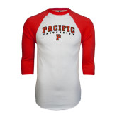 White/Red Raglan Baseball T-Shirt-Arched Pacific University w/P