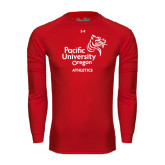 Under Armour Red Long Sleeve Tech Tee-Pacific University Oregon w/Boxer