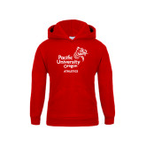 Youth Red Fleece Hoodie-Pacific University Oregon w/Boxer