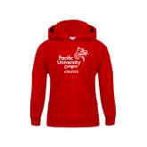 Youth Red Fleece Hood-Pacific University Oregon w/Boxer