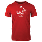 Adidas Red Logo T Shirt-Pacific University Oregon w/Boxer