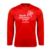 Performance Red Longsleeve Shirt-Pacific University Oregon w/Boxer