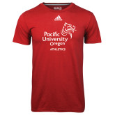 Adidas Climalite Red Ultimate Performance Tee-Pacific University Oregon w/Boxer