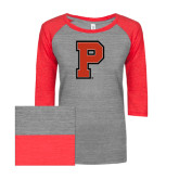 ENZA Ladies Athletic Heather/Red Vintage Triblend Baseball Tee-P