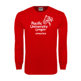 Red Long Sleeve T Shirt-Pacific University Oregon w/Boxer