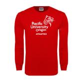 Red Long Sleeve T Shirt-Pacific University Oregon w/Boxer