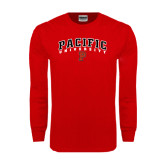 Red Long Sleeve T Shirt-Arched Pacific University w/P