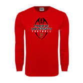 Red Long Sleeve T Shirt-Tall Football Design