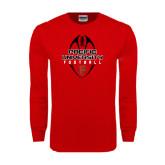 Red Long Sleeve T Shirt-Tall Football Design