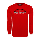 Red Long Sleeve T Shirt-Flat Football Design
