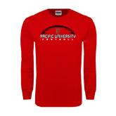 Red Long Sleeve T Shirt-Flat Football Design