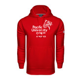 Under Armour Red Performance Sweats Team Hoodie-Pacific University Oregon w/Boxer