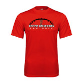 Performance Red Tee-Flat Football Design