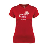 Ladies Syntrel Performance Red Tee-Pacific University Oregon w/Boxer