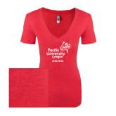 Next Level Ladies Vintage Red Tri Blend V-Neck Tee-Pacific University Oregon w/Boxer