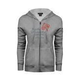 ENZA Ladies Grey Fleece Full Zip Hoodie-Pacific University Oregon w/Boxer