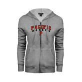 ENZA Ladies Grey Fleece Full Zip Hoodie-Arched Pacific Boxers w/P