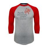 Grey/Red Raglan Baseball T-Shirt-Pacific University Oregon w/Boxer