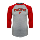 Grey/Red Raglan Baseball T Shirt-Arched Pacific University w/P