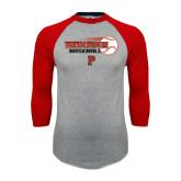 Grey/Red Raglan Baseball T-Shirt-Baseball