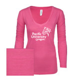 ENZA Ladies Hot Pink Long Sleeve V Neck Tee-Pacific University Oregon w/Boxer