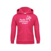 Youth Hot Pink Fleece Hoodie-Pacific University Oregon w/Boxer