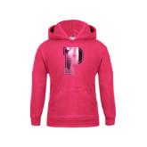 Youth Hot Pink Fleece Hoodie-P Foil