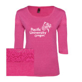 Ladies Dark Fuchsia Heather Tri Blend Lace 3/4 Sleeve Tee-Pacific University Oregon w/Boxer