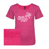 Ladies Dark Fuchsia Heather Tri-Blend Lace Tee-Pacific University Oregon w/Boxer
