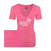 Next Level Ladies Vintage Pink Tri Blend V-Neck Tee-Pacific University Oregon w/Boxer