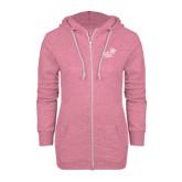 ENZA Ladies Hot Pink Marled Full Zip Hoodie-Pacific University Oregon w/Boxer