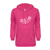 ENZA Ladies Hot Pink V Notch Raw Edge Fleece Hoodie-Pacific University Oregon w/Boxer