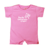 Bubble Gum Pink Infant Romper-Pacific University Oregon w/Boxer