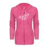 ENZA Ladies Hot Pink Light Weight Fleece Full Zip Hoodie-Pacific University Oregon w/Boxer