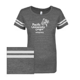 ENZA Ladies Dark Heather/White Vintage Triblend Football Tee-Pacific University Oregon w/Boxer