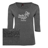 Ladies Charcoal Heather Tri Blend Lace 3/4 Sleeve Tee-Pacific University Oregon w/Boxer