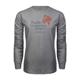 Grey Long Sleeve T Shirt-Pacific University Oregon w/Boxer