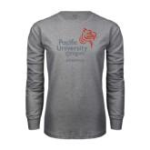 Grey Long Sleeve T Shirt-Pacific University Oregon w/Boxer