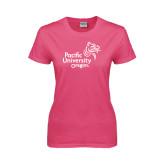 Ladies Fuchsia T Shirt-Pacific University Oregon w/Boxer